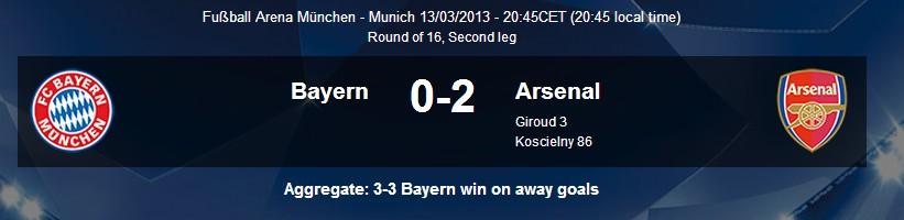 Bayern - Arsena; 0-2