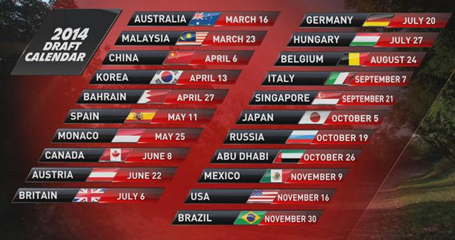 calendar formula 1 2014