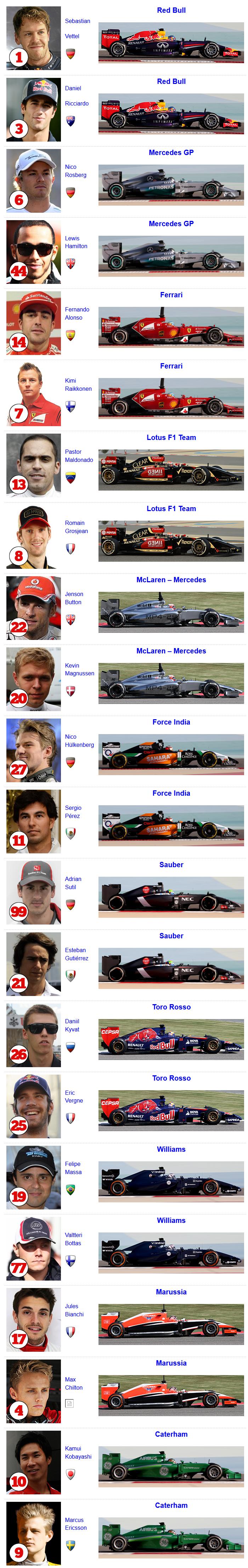 Echipe si piloti Formula 1 2014