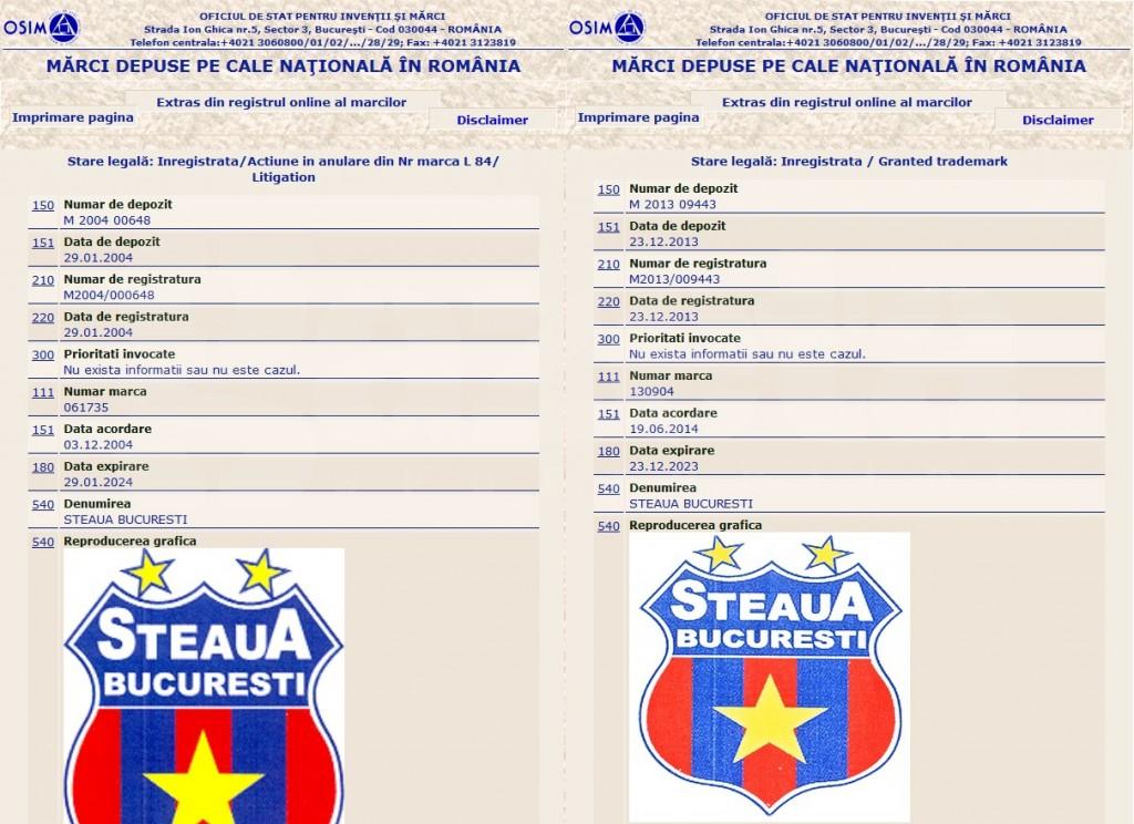 photo: GSP.ro // Left side: FC Steaua Bucuresti registration // Right side: C.S.A. Steaua Bucuresti registration