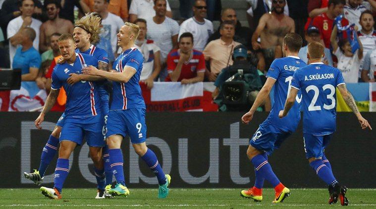 Football Soccer - England v Iceland - EURO 2016 - Round of 16 - Stade de Nice, Nice, France - 27/6/16 Iceland's Ragnar Sigurdsson celebrates after scoring their first goal  REUTERS/Kai Pfaffenbach Livepic