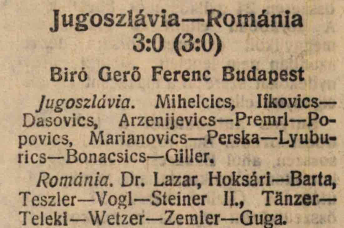 Romania 3-0 Iugoslavia 1927
