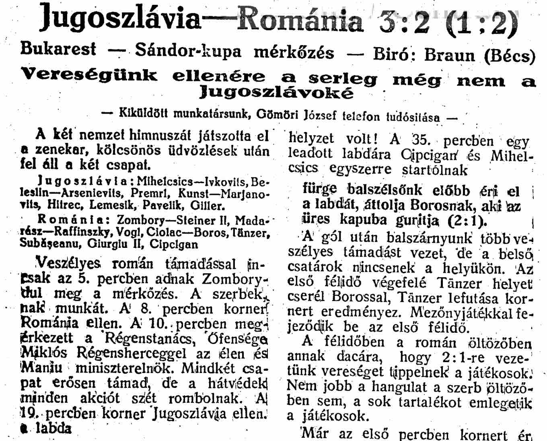 Romania 2-3 Iugoslavia