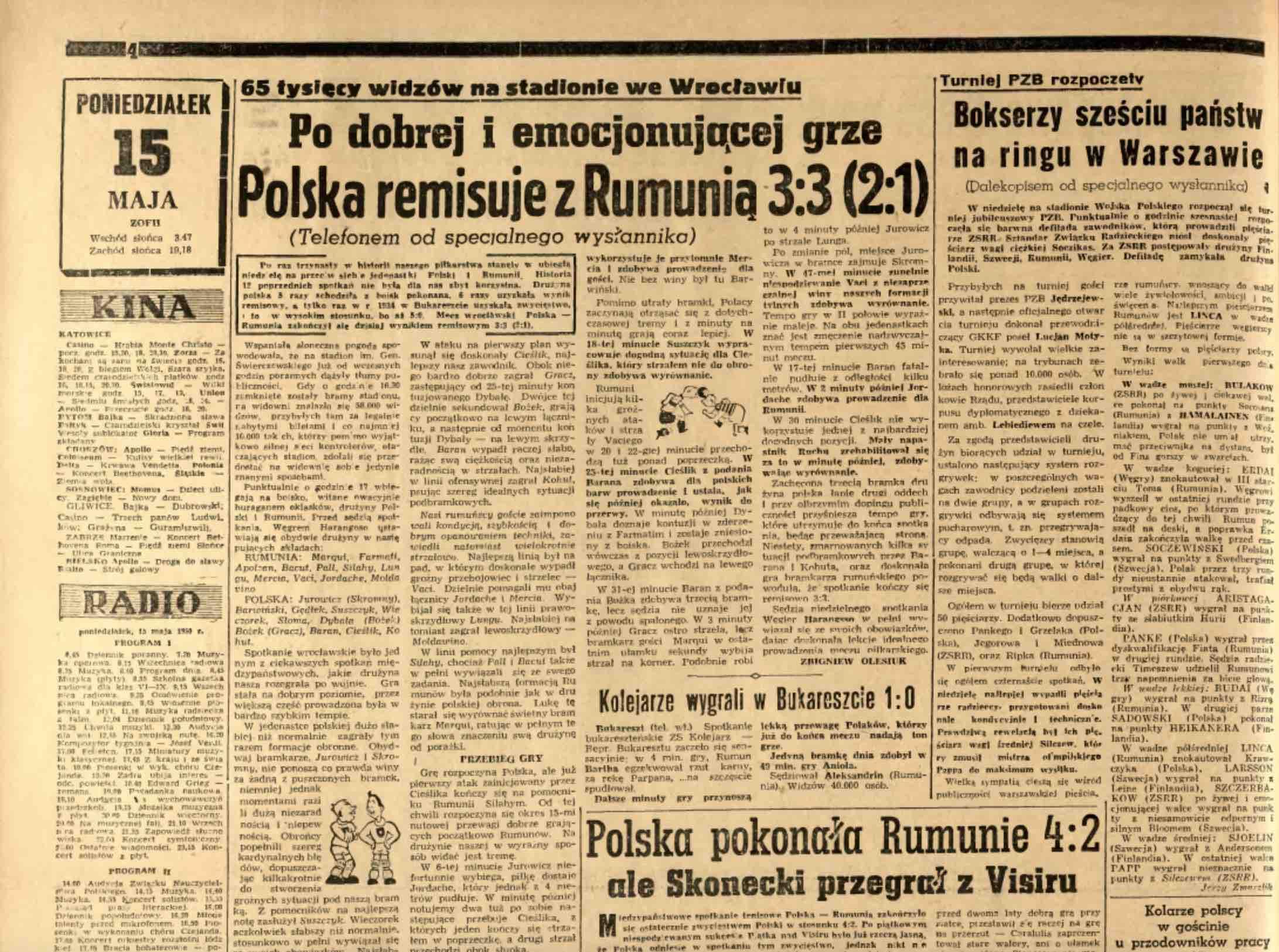 Polonia 3-3 Romania 1950