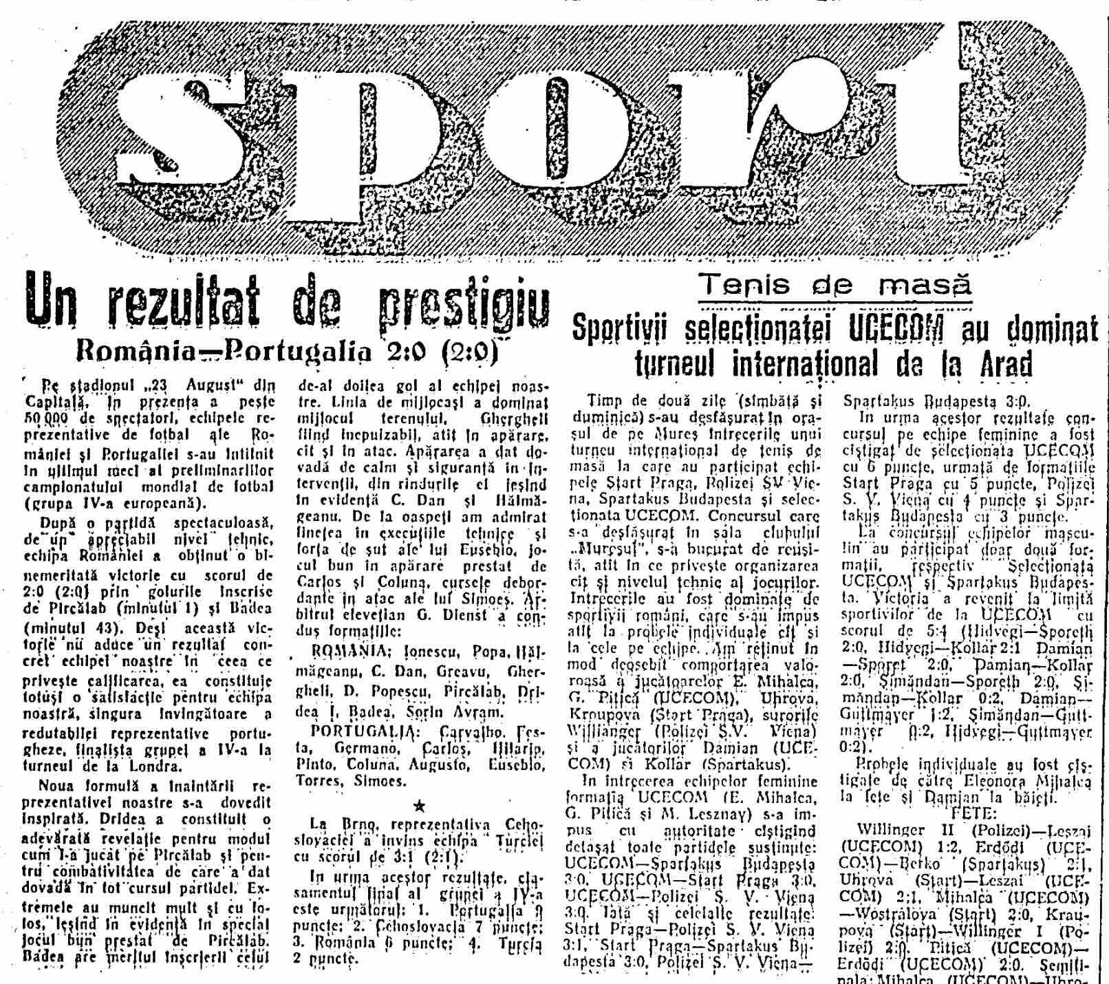 Romania 2-0 Portugalia 1965