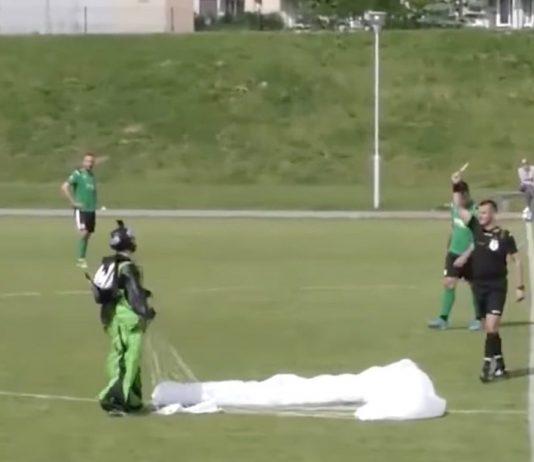 parasutist pe teren